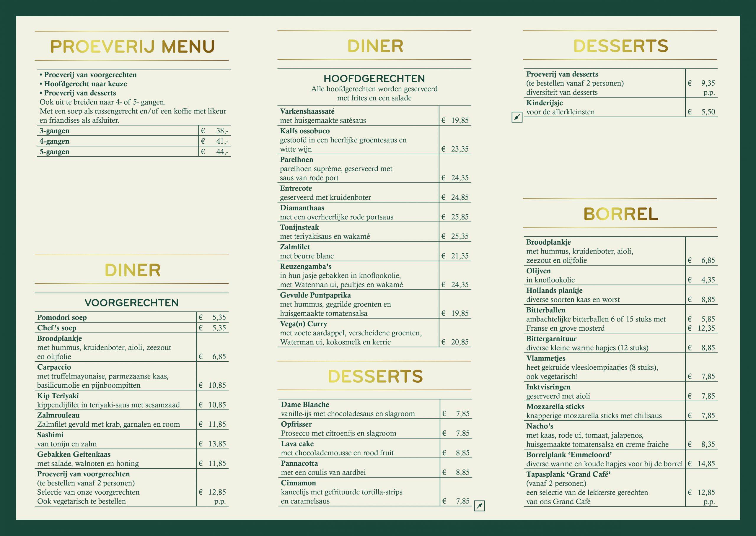 Grand Cafe emmeloord menukaart 2