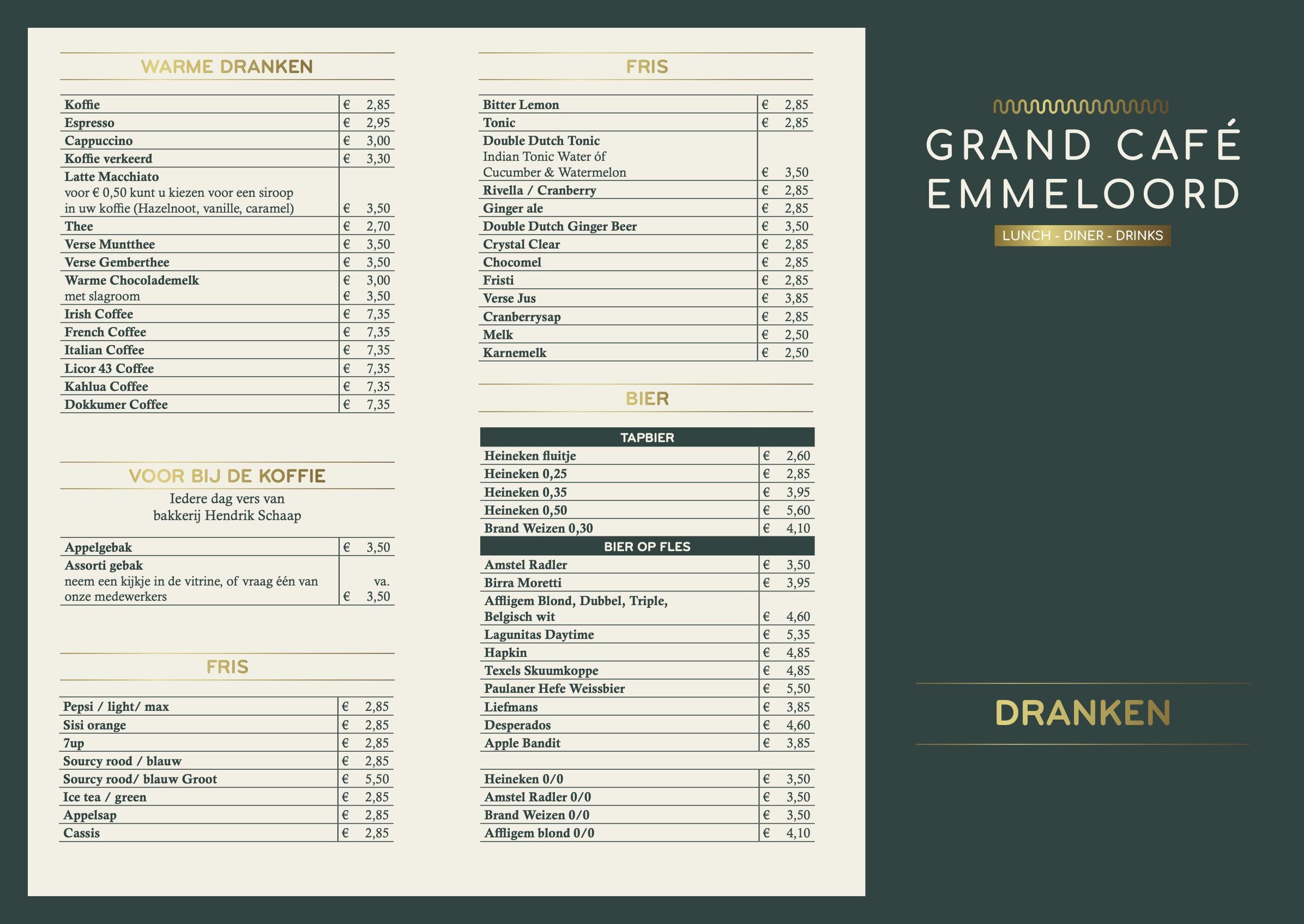 Drankenkaart Grand Cafe emmeloord